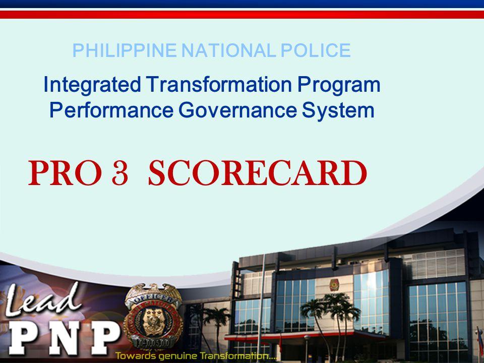PRO 3 SCORECARD Integrated Transformation Program