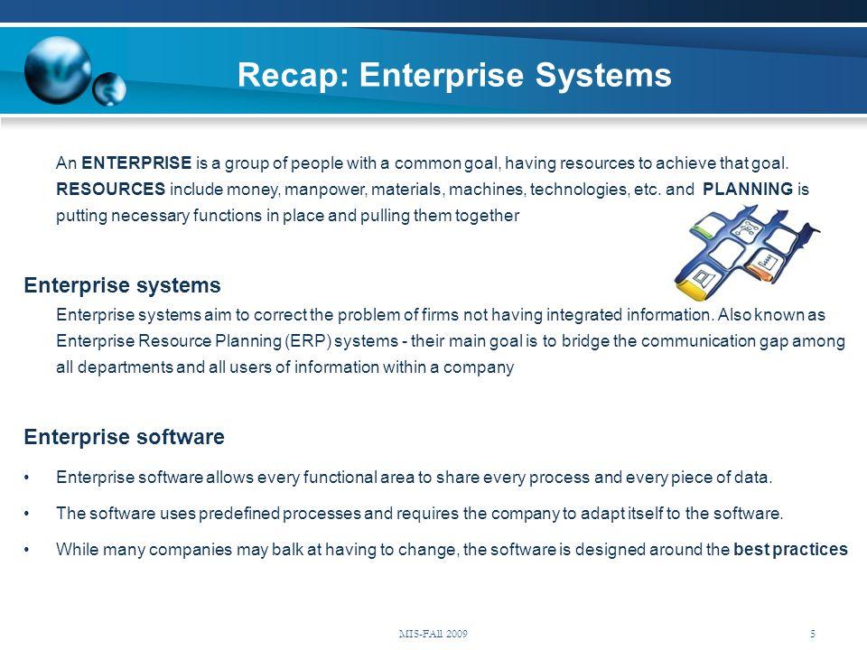 Recap: Enterprise Systems