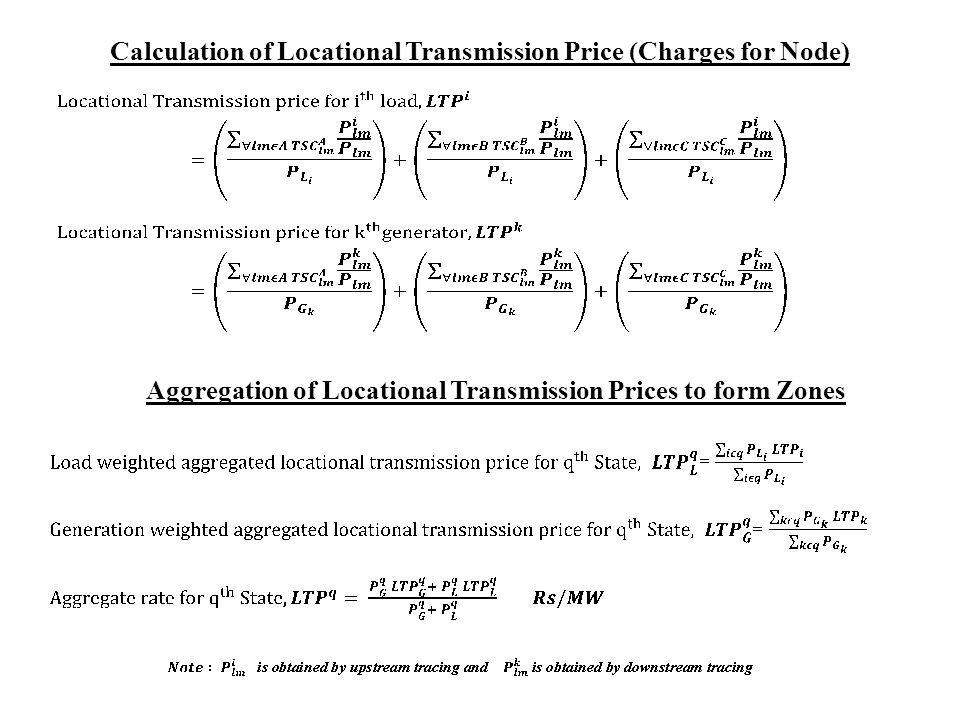 Calculation of Locational Transmission Price (Charges for Node)