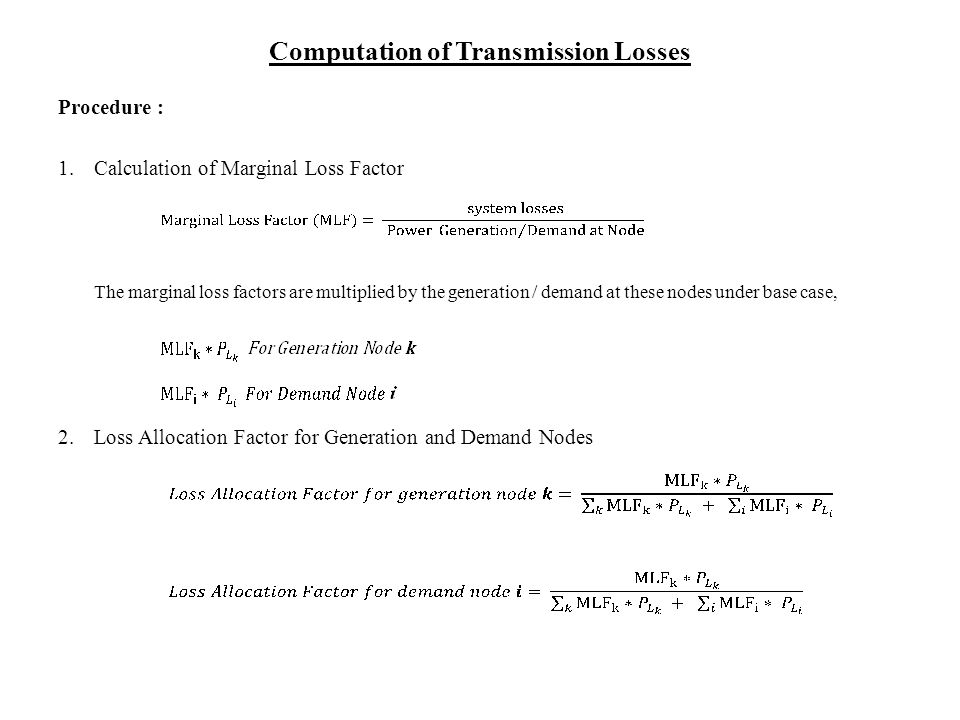 Computation of Transmission Losses