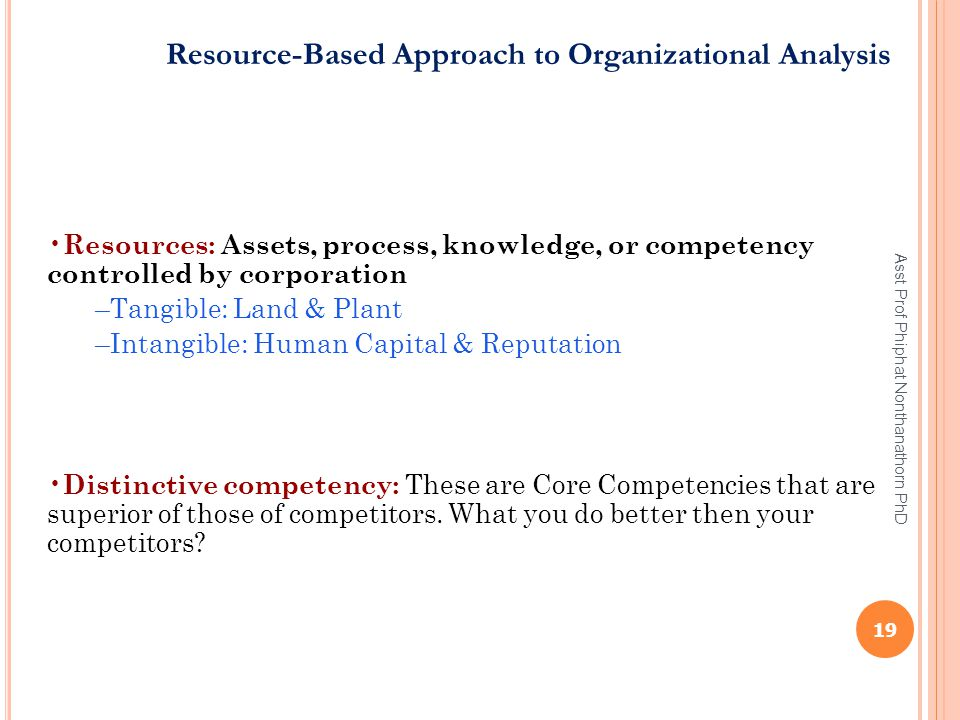 Resource-Based Approach to Organizational Analysis