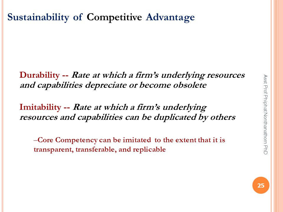 Sustainability of Competitive Advantage