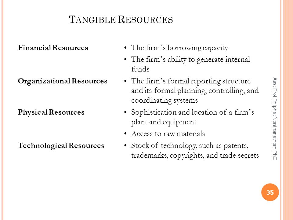 Financial Resources • The firm's borrowing capacity