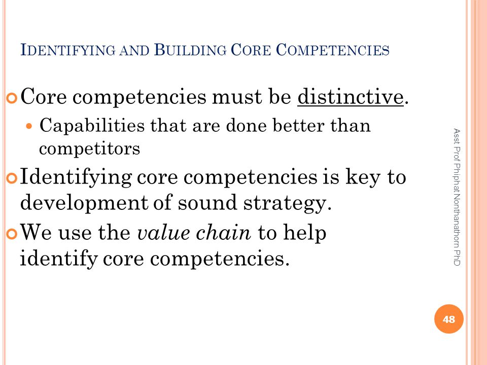 Identifying and Building Core Competencies