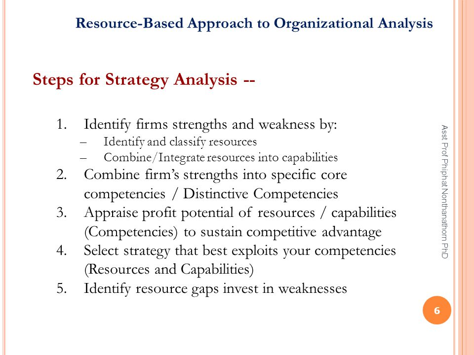 Steps for Strategy Analysis --