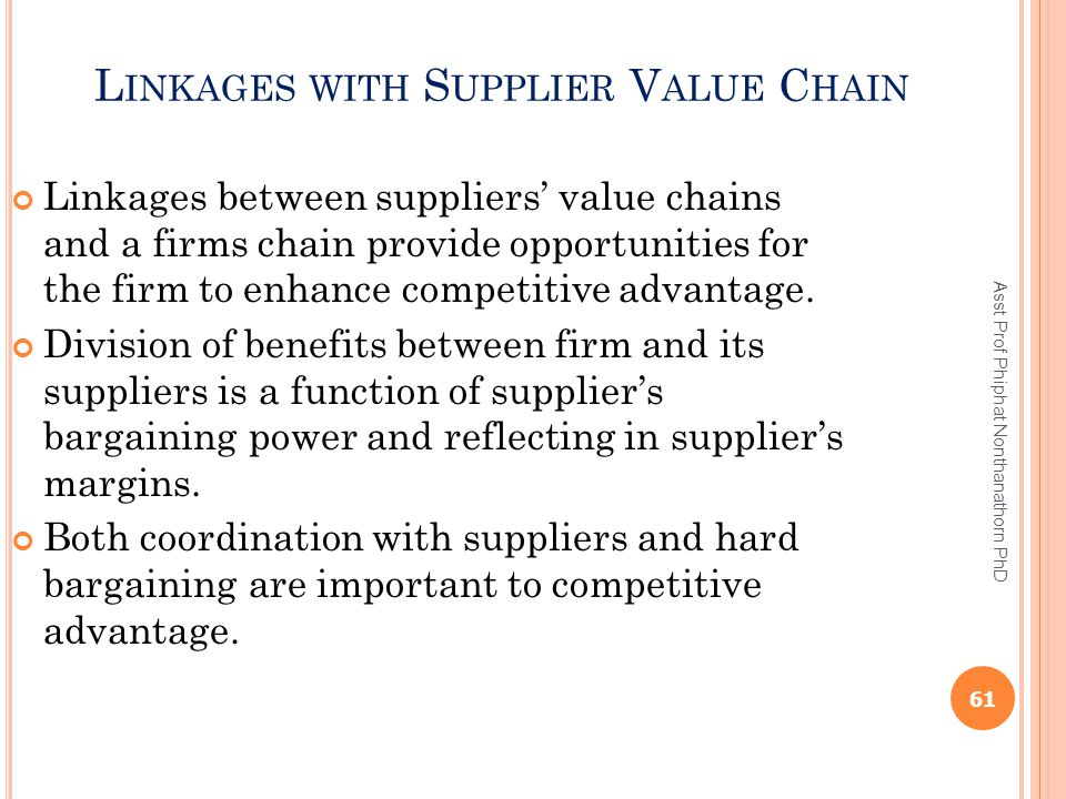 Linkages with Supplier Value Chain
