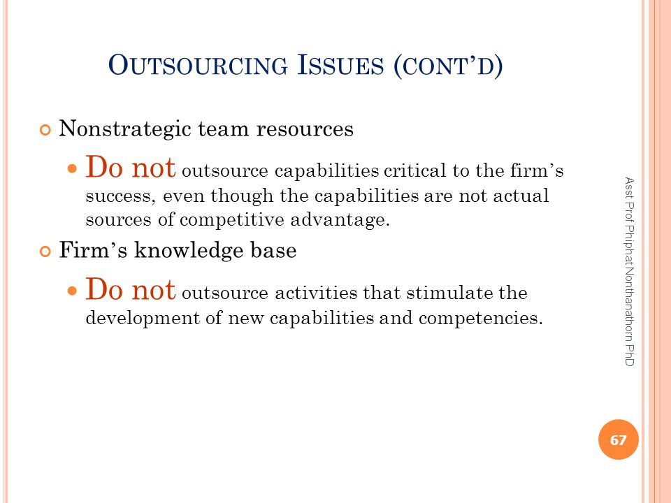 Outsourcing Issues (cont'd)