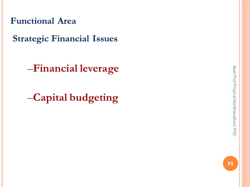 Financial leverage Capital budgeting Functional Area