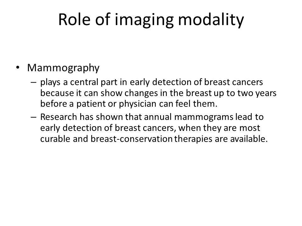 Role of imaging modality