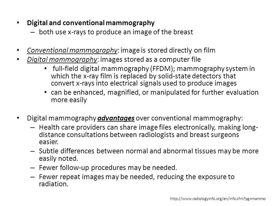 Digital and conventional mammography