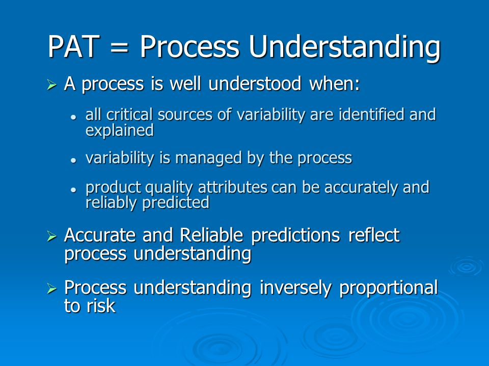 PAT = Process Understanding