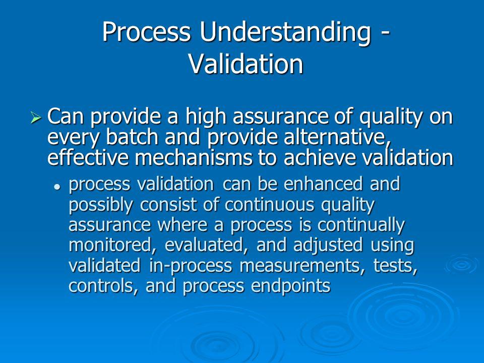 Process Understanding - Validation