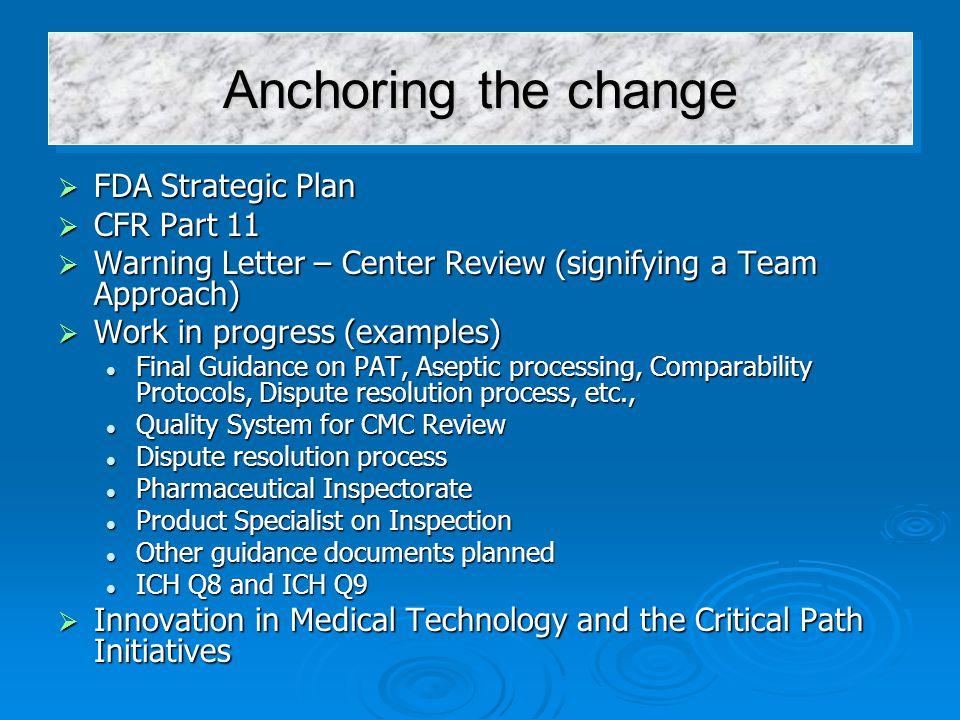 Anchoring the change FDA Strategic Plan CFR Part 11