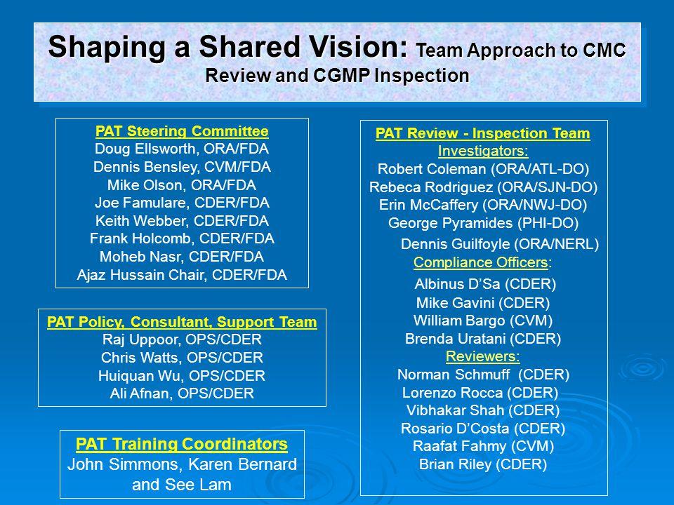 PAT Review - Inspection Team PAT Training Coordinators