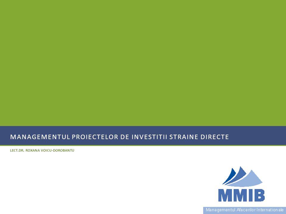 MANAGEMENTUL PROIECTELOR DE INVESTITII STRAINE DIRECTE