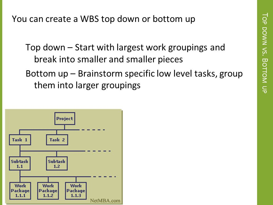 You can create a WBS top down or bottom up Top down – Start with largest work groupings and break into smaller and smaller pieces Bottom up – Brainstorm specific low level tasks, group them into larger groupings
