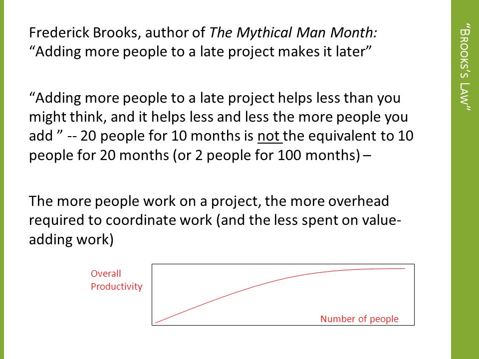 Frederick Brooks, author of The Mythical Man Month: Adding more people to a late project makes it later Adding more people to a late project helps less than you might think, and it helps less and less the more people you add -- 20 people for 10 months is not the equivalent to 10 people for 20 months (or 2 people for 100 months) – The more people work on a project, the more overhead required to coordinate work (and the less spent on value-adding work)