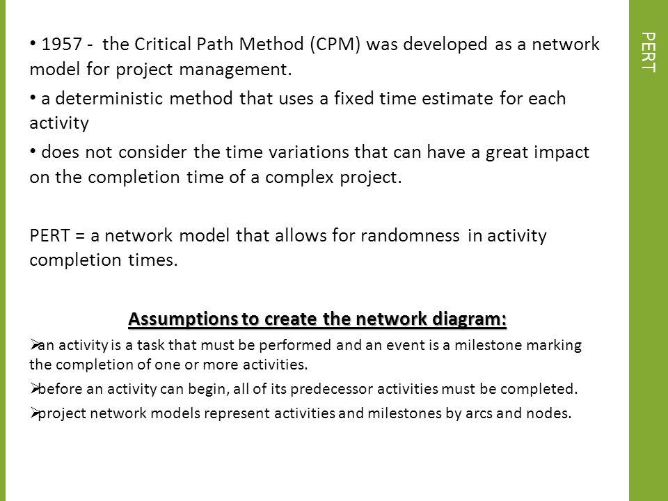 Assumptions to create the network diagram: