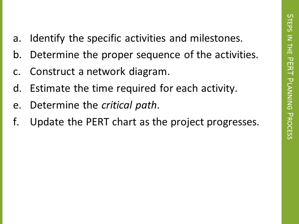 Steps in the PERT Planning Process