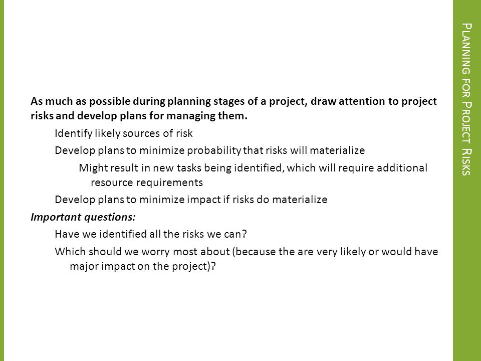 Planning for Project Risks