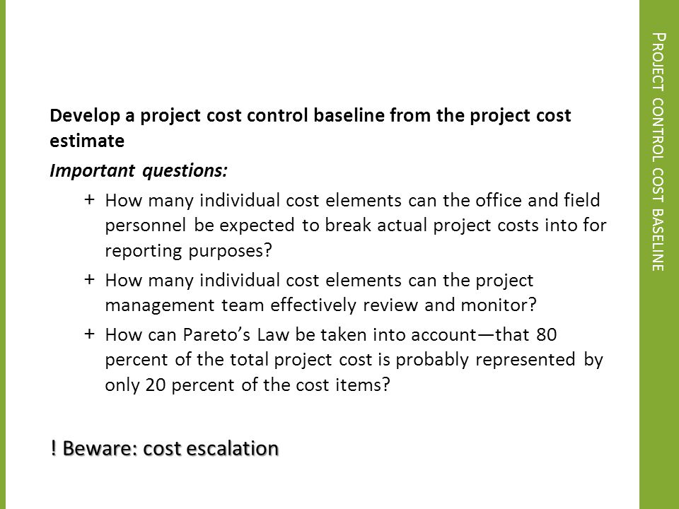 Project control cost baseline