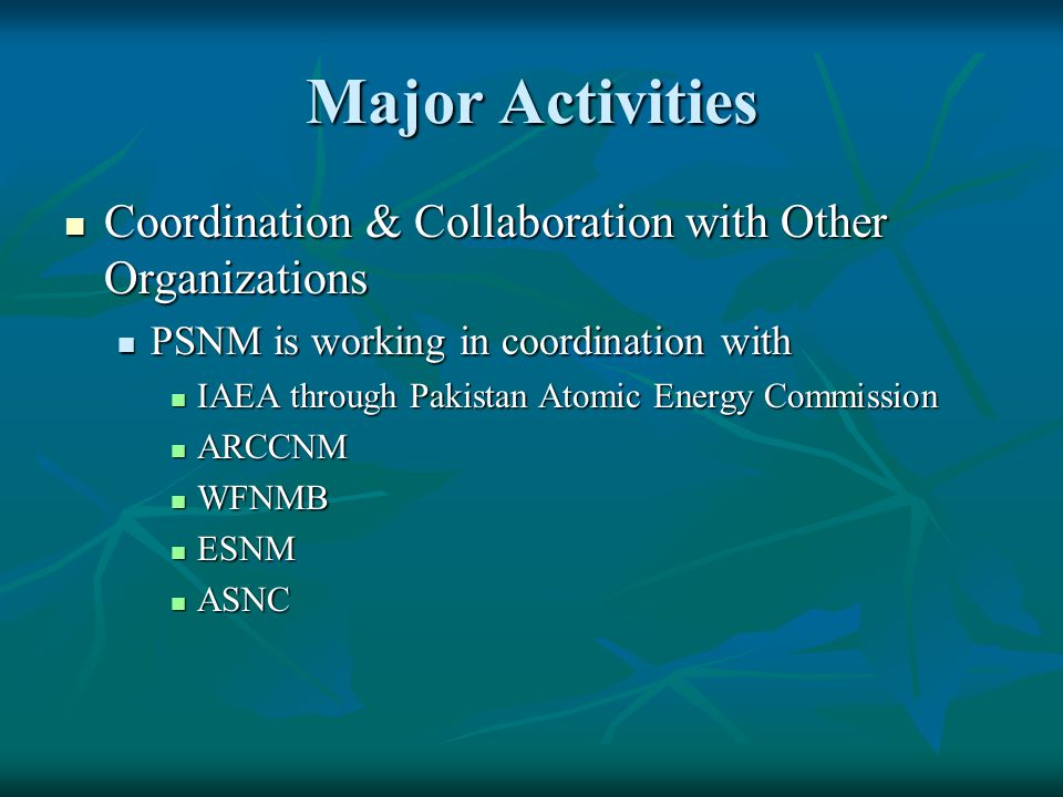 Major Activities Coordination & Collaboration with Other Organizations
