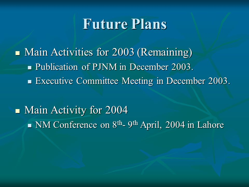 Future Plans Main Activities for 2003 (Remaining)