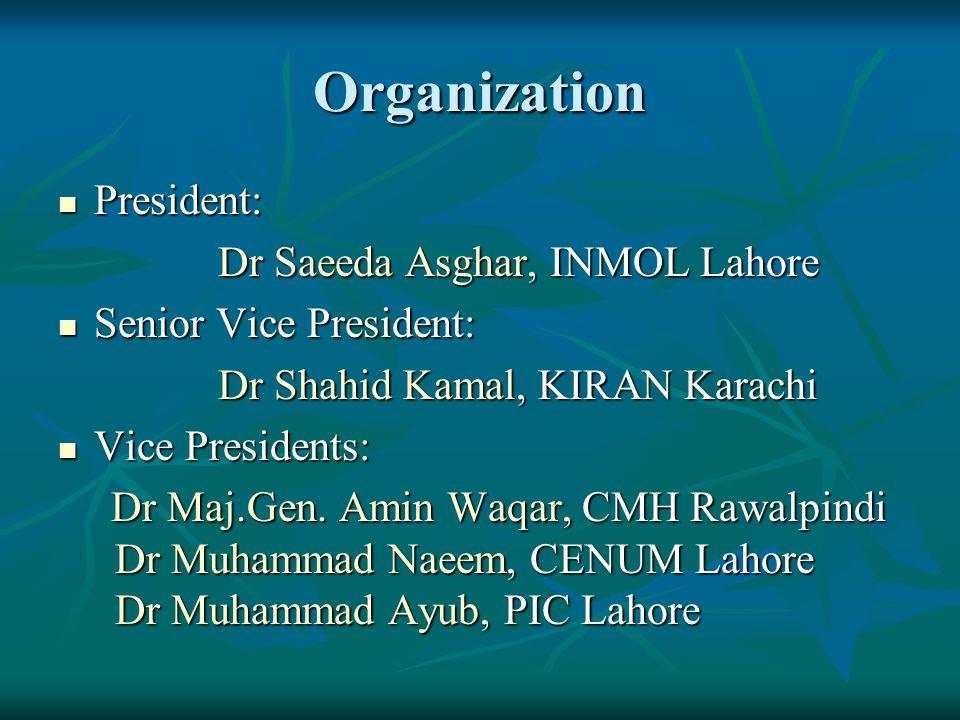 Organization President: Dr Saeeda Asghar, INMOL Lahore