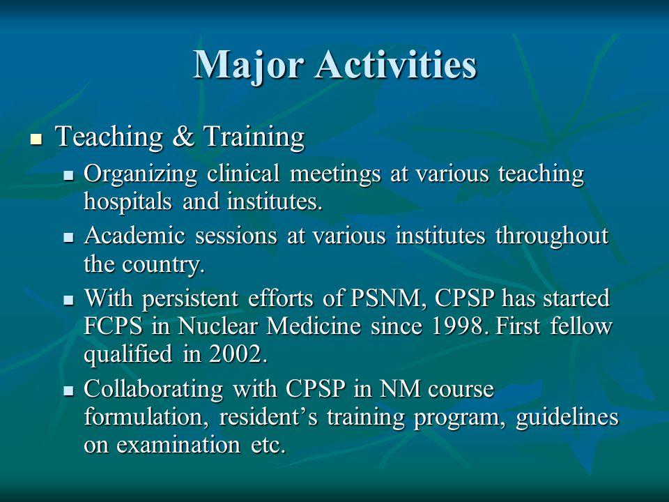 Major Activities Teaching & Training