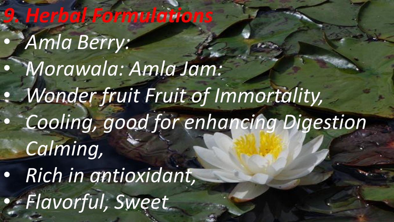 9. Herbal Formulations Amla Berry: Morawala: Amla Jam: Wonder fruit Fruit of Immortality, Cooling, good for enhancing Digestion Calming,
