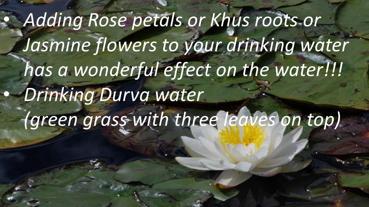 Adding Rose petals or Khus roots or Jasmine flowers to your drinking water has a wonderful effect on the water!!!