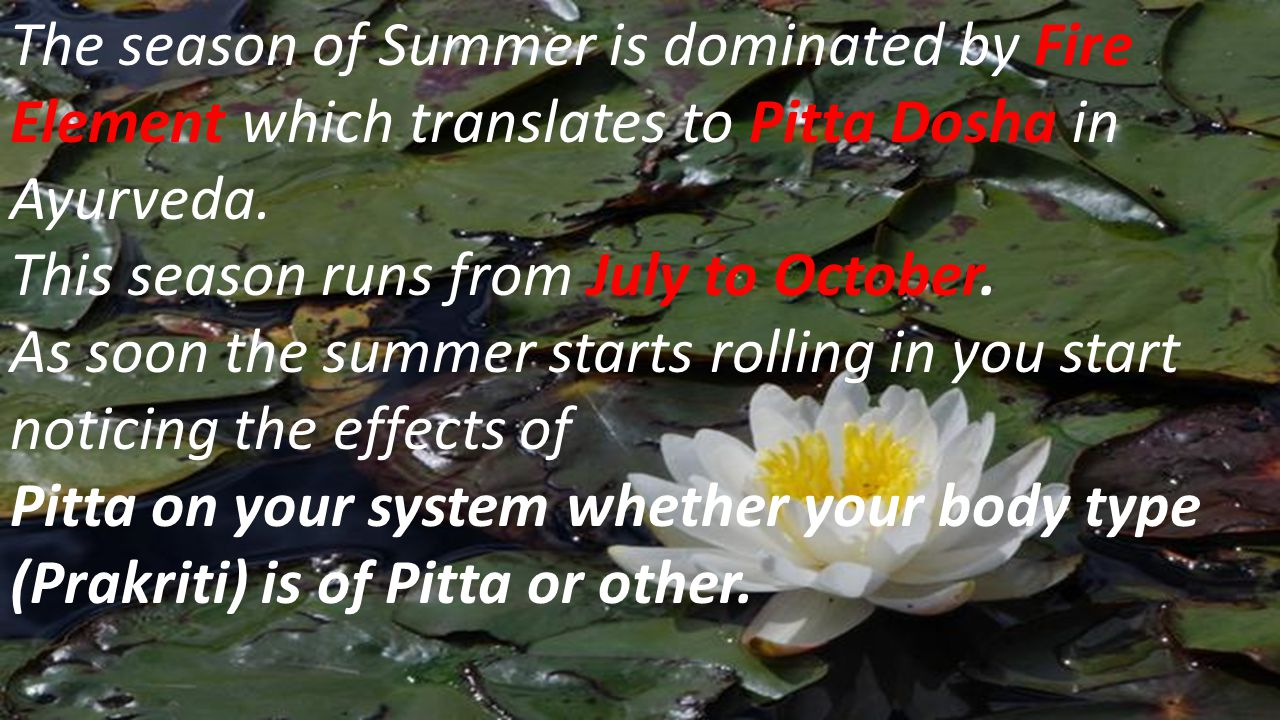 The season of Summer is dominated by Fire Element which translates to Pitta Dosha in Ayurveda.