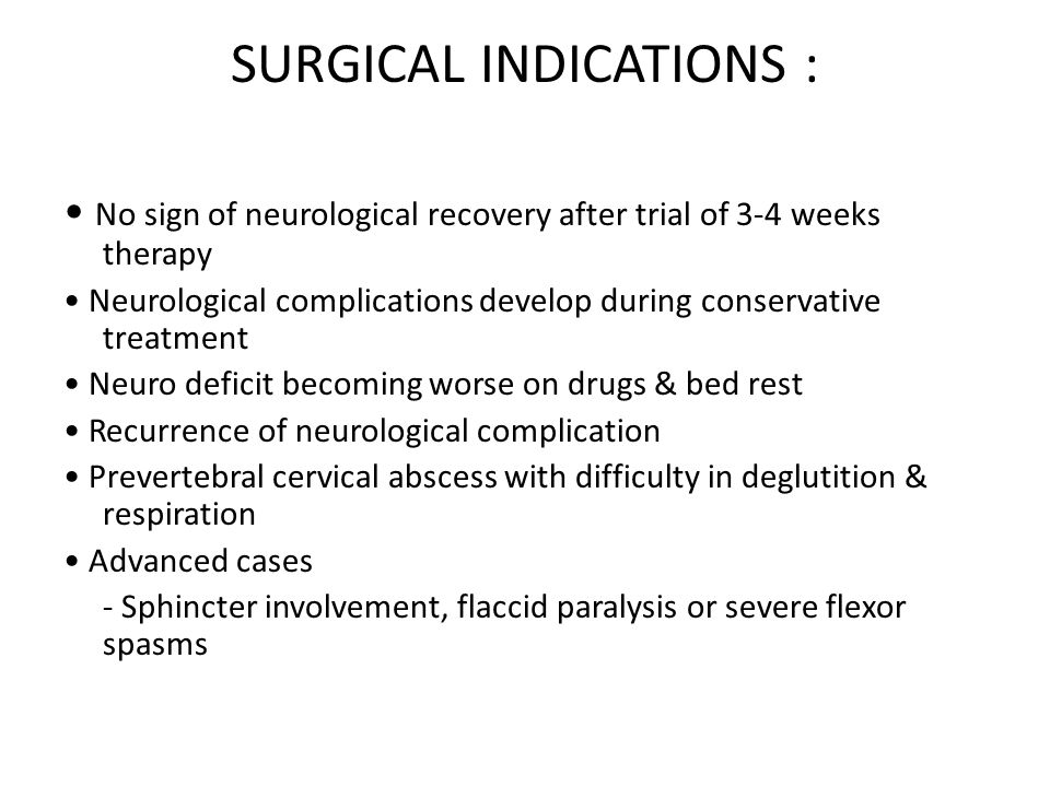 SURGICAL INDICATIONS :