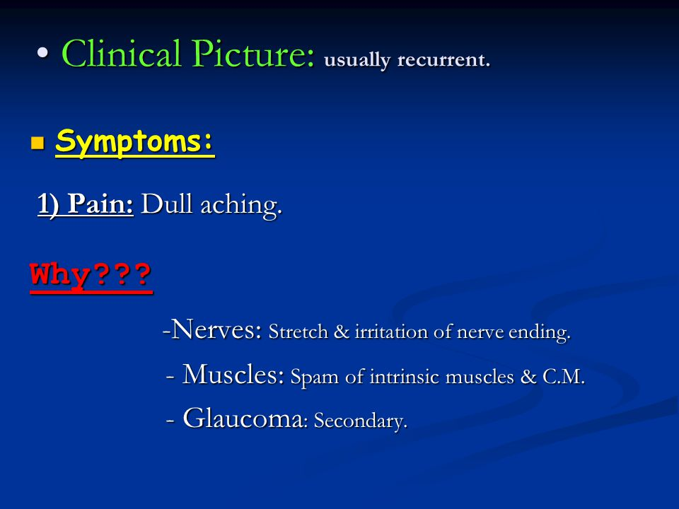 Clinical Picture: usually recurrent.
