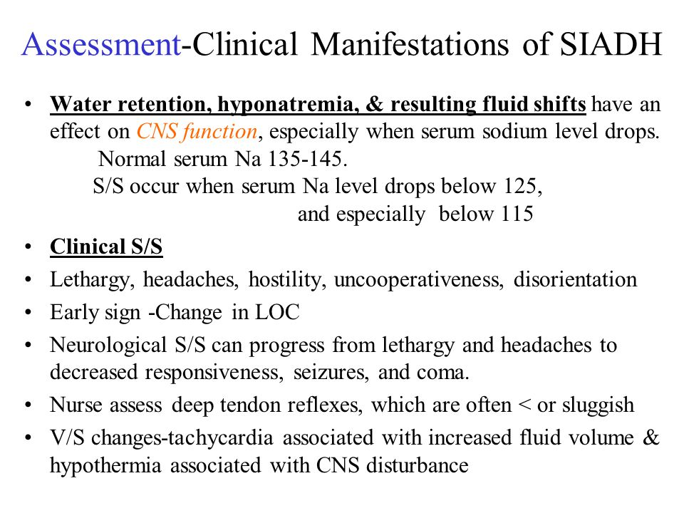 Assessment-Clinical Manifestations of SIADH