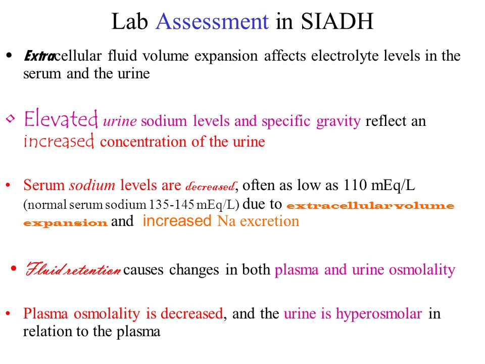 Lab Assessment in SIADH