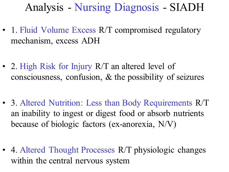 Analysis - Nursing Diagnosis - SIADH