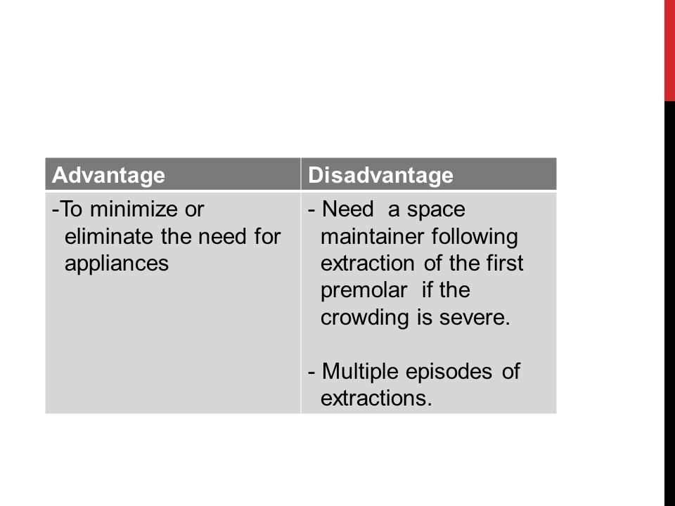 Advantage Disadvantage. To minimize or. eliminate the need for. appliances. Need a space. maintainer following.