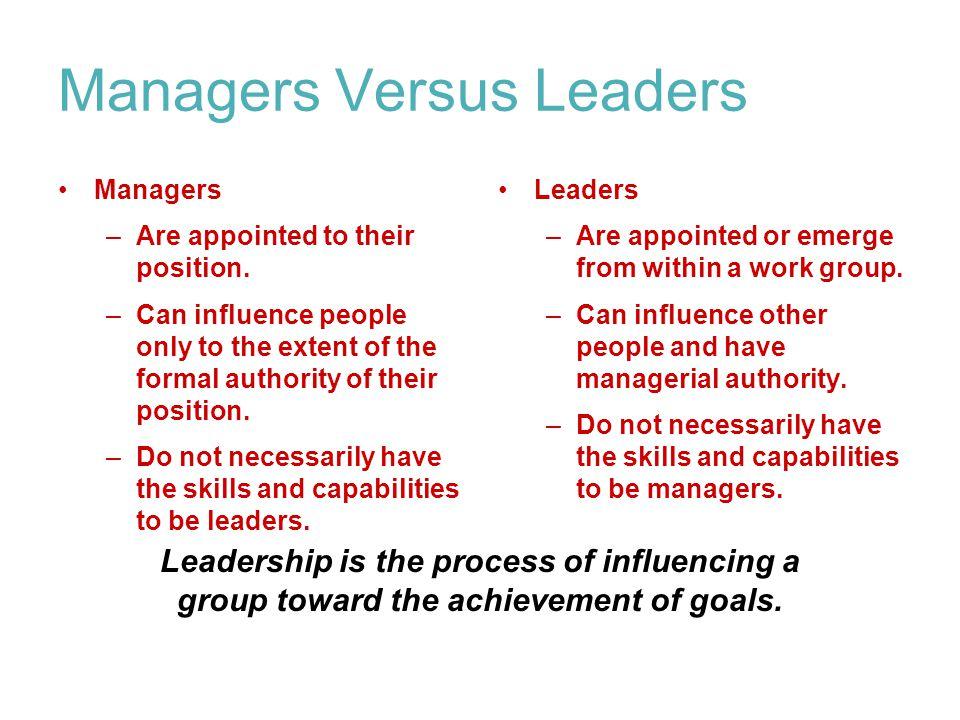 Managers Versus Leaders