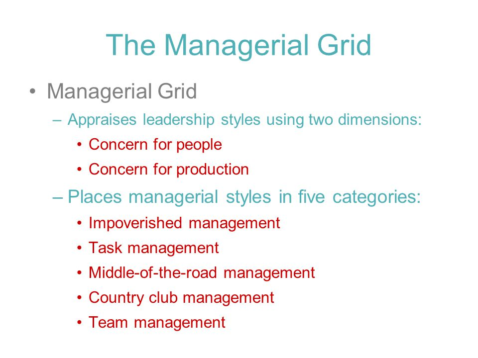 The Managerial Grid Managerial Grid