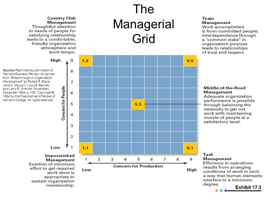 The Managerial Grid Exhibit 17.3