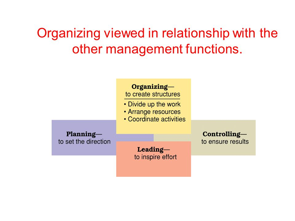 Organizing viewed in relationship with the other management functions.