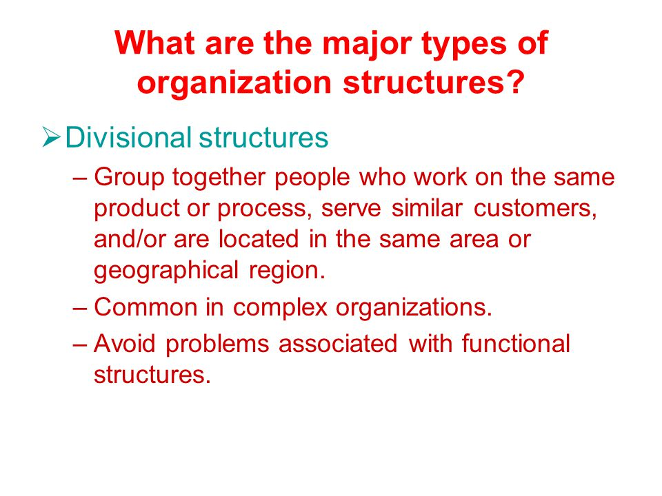 What are the major types of organization structures