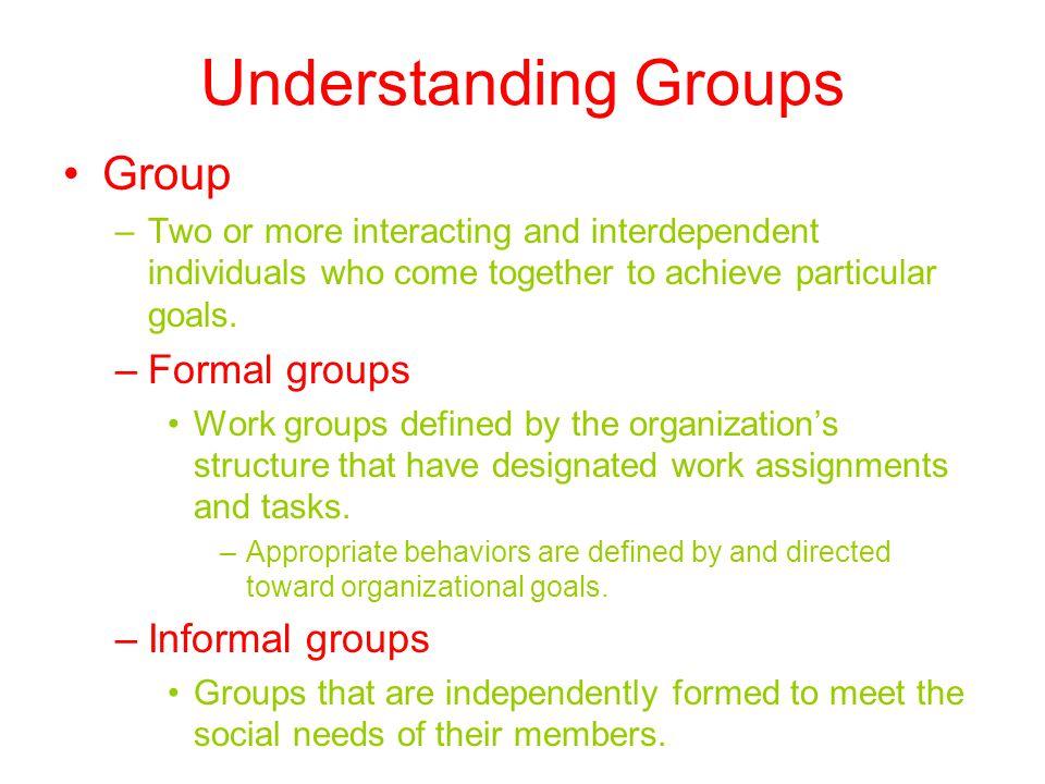 Understanding Groups Group Formal groups Informal groups