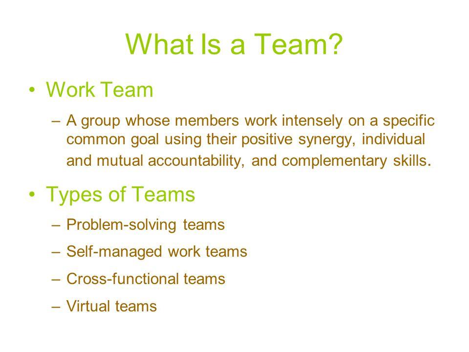 What Is a Team Work Team Types of Teams