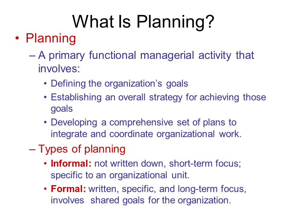 What Is Planning Planning