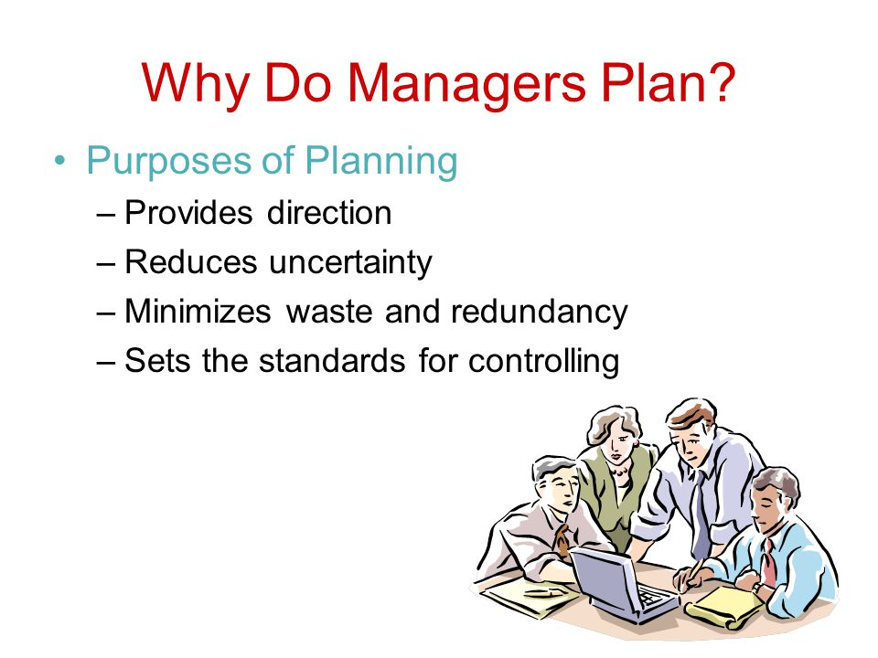 Why Do Managers Plan Purposes of Planning Provides direction
