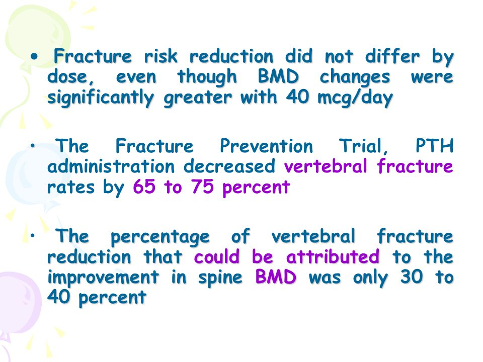Fracture risk reduction did not differ by dose, even though BMD changes were significantly greater with 40 mcg/day