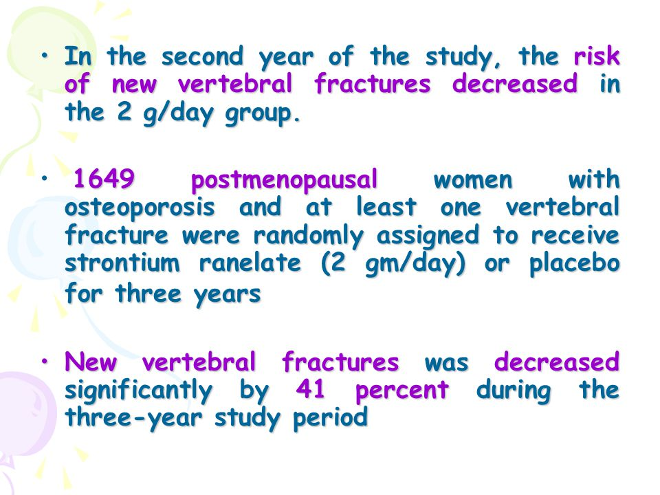 In the second year of the study, the risk of new vertebral fractures decreased in the 2 g/day group.