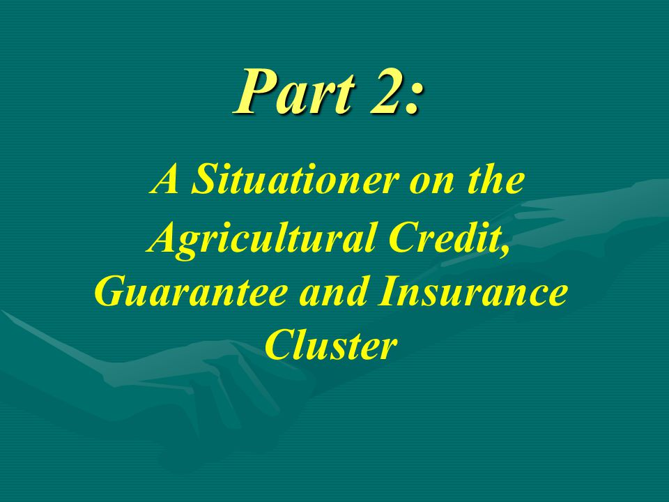 Part 2: A Situationer on the Agricultural Credit, Guarantee and Insurance Cluster